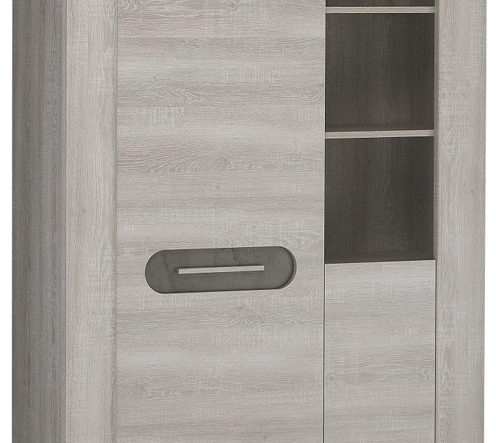 Vitrinekast Sandro Large van 180 cm hoog in licht grijs eiken | Bordini Furniture