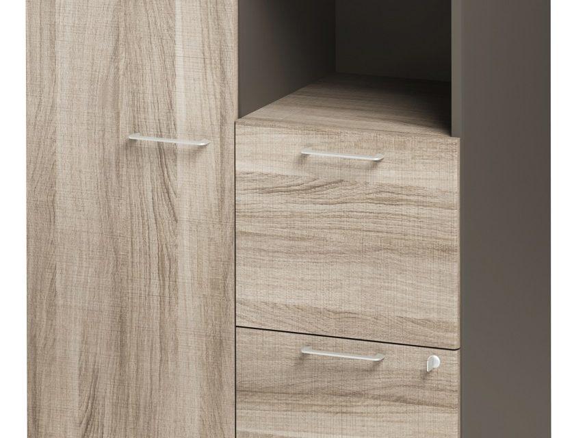 Boekenkast Jazz 114 cm hoog in grijs eiken met grijs | Gamillo Furniture