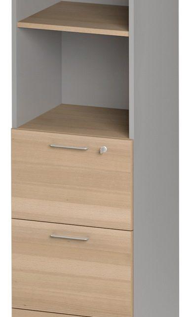 Boekenkast Jazz 4 van 183 cm hoog in beuken met licht grijs | Gamillo Furniture