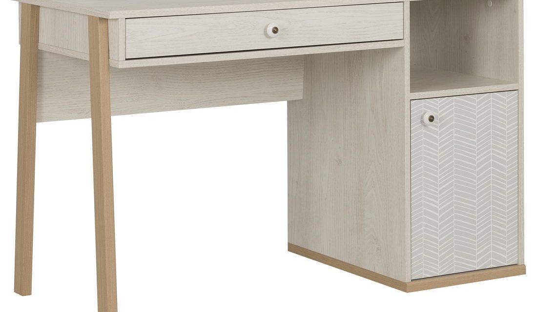 Bureau Alika van 123 cm breed in Wit kastanjehout | Gamillo Furniture