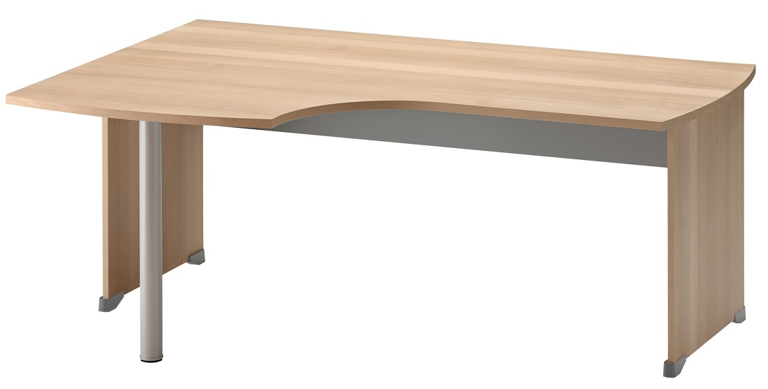 Bureau Jazz links 180 cm breed in beuken met licht grijs | Gamillo Furniture