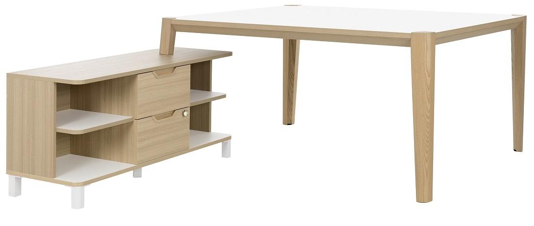 Bureau tafel set Absolu 164 cm breed in wit met eiken | Gamillo Furniture