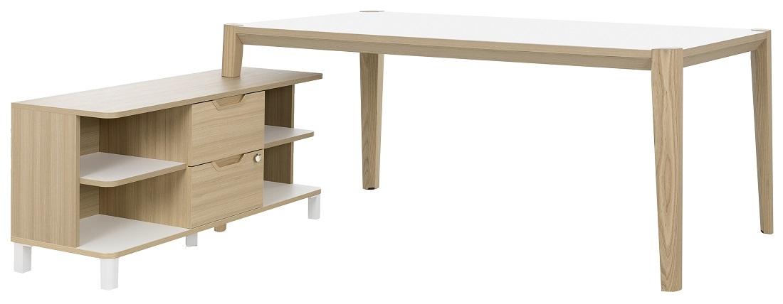 Bureau tafel set Absolu 184 cm breed in wit met eiken | Gamillo Furniture