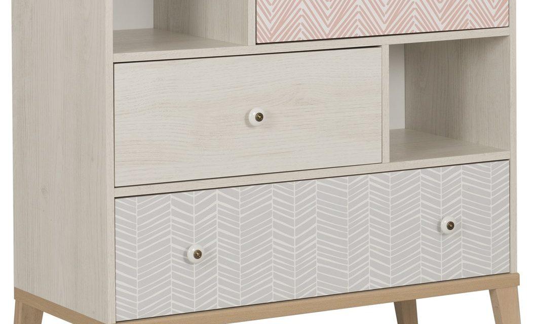 Ladekast Alika 95 cm hoog in Wit kastanjehout | Gamillo Furniture