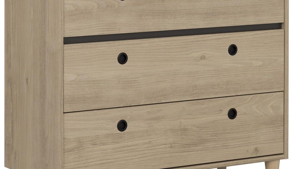 Ladekast Axel 86 cm hoog in kastanje met antracietgrijs | Gamillo Furniture