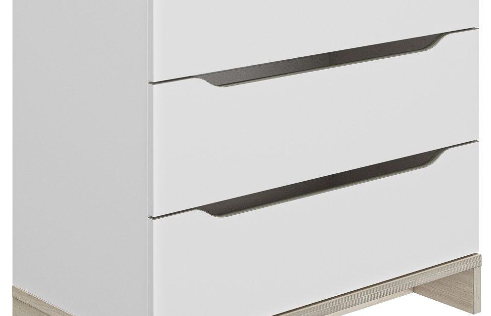 Ladekast Gray 81 cm hoog in wit met eiken | Gamillo Furniture