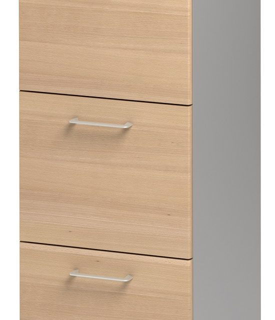 Ladekast Jazz 114 cm hoog in beuken met licht grijs | Gamillo Furniture