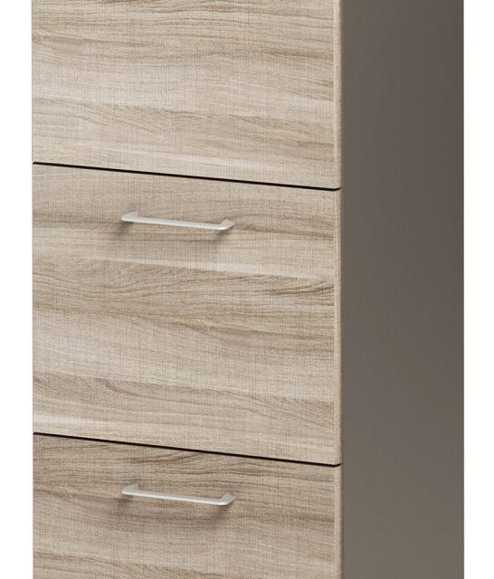 Ladekast Jazz 114 cm hoog in grijs eiken met grijs | Gamillo Furniture
