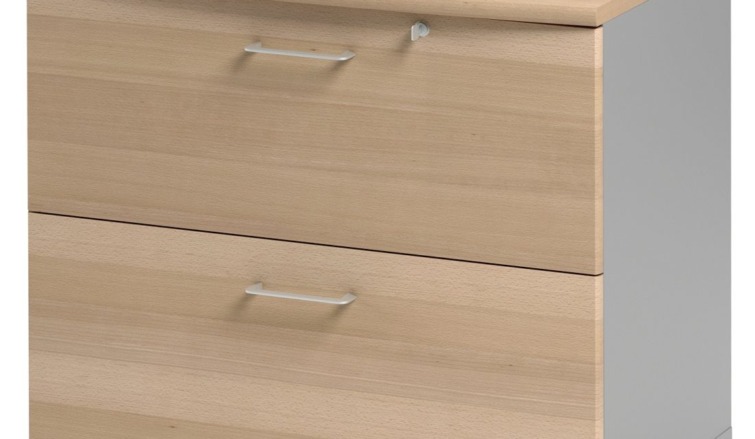 Ladekast Jazz 71 cm hoog in beuken met licht grijs | Gamillo Furniture