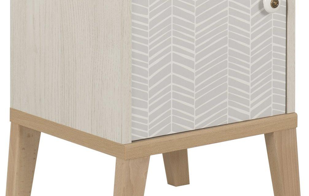Nachtkastje Alika 47 cm hoog in wit kastanjehout | Gamillo Furniture