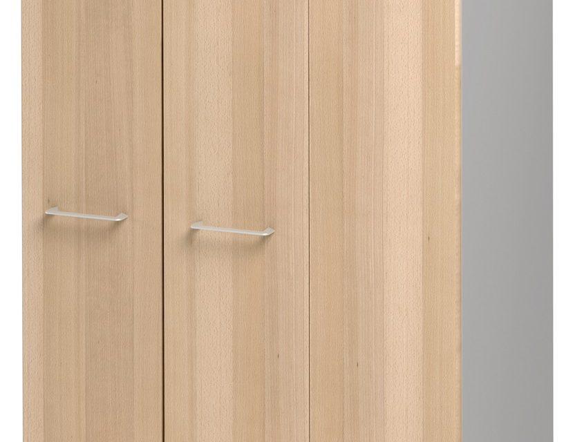 Opbergkast Jazz 114 cm hoog in beuken met licht grijs | Gamillo Furniture