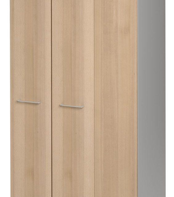 Opbergkast Jazz 183 cm hoog in beuken met licht grijs | Gamillo Furniture