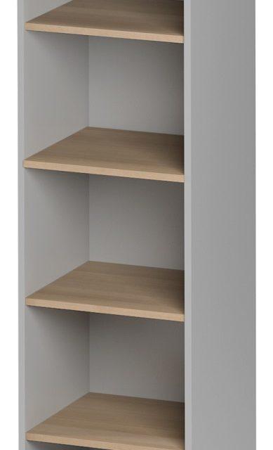 Open Boekenkast Jazz 1 van 183 cm hoog in beuken met licht grijs | Gamillo Furniture
