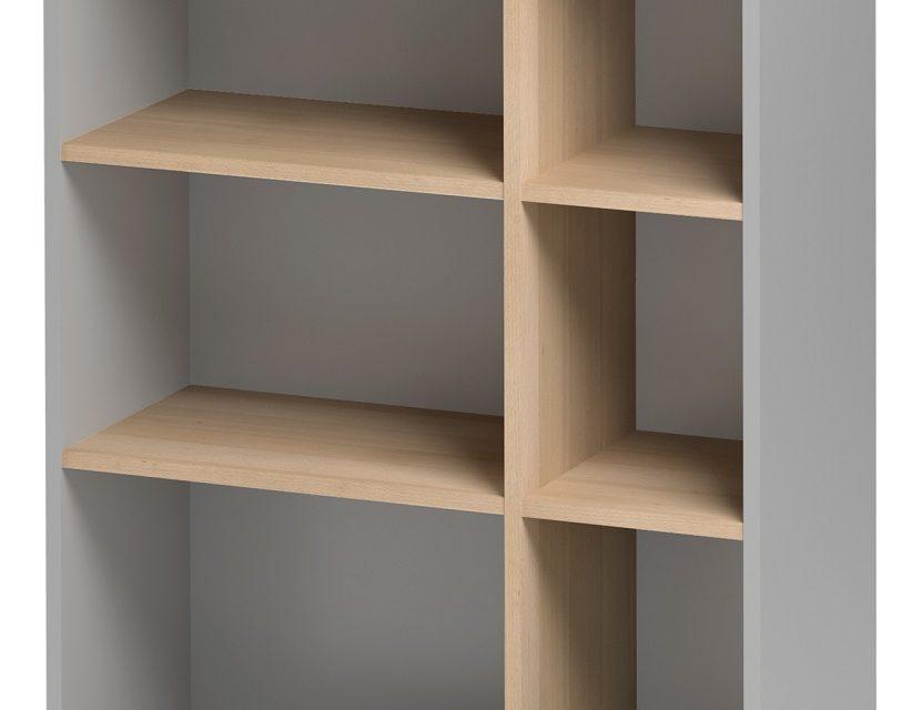 Open Boekenkast Jazz 3 van 114 cm hoog in beuken met licht grijs | Gamillo Furniture