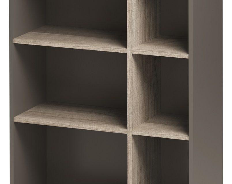 Open Boekenkast Jazz 3 van 114 cm hoog in grijs eiken met grijs | Gamillo Furniture