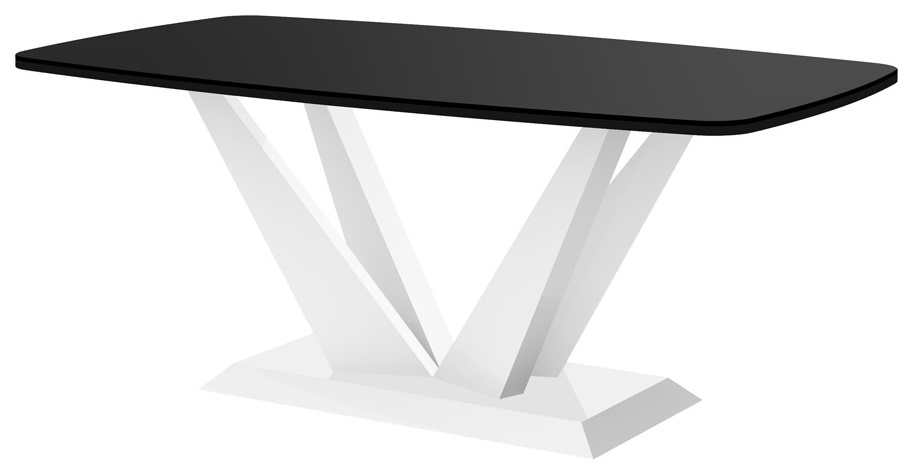 Salontafel Perfecto mini 125 cm breed in hoogglans zwart met wit | Hubertus Meble