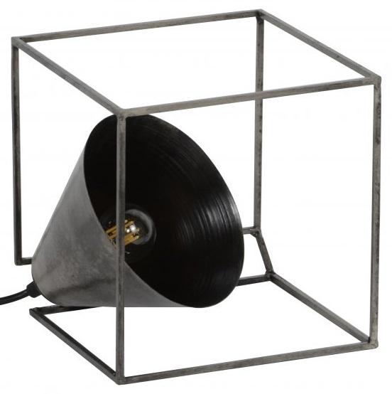 Tafellamp industry kubus van 20 cm hoog – Oud zilver | Zaloni