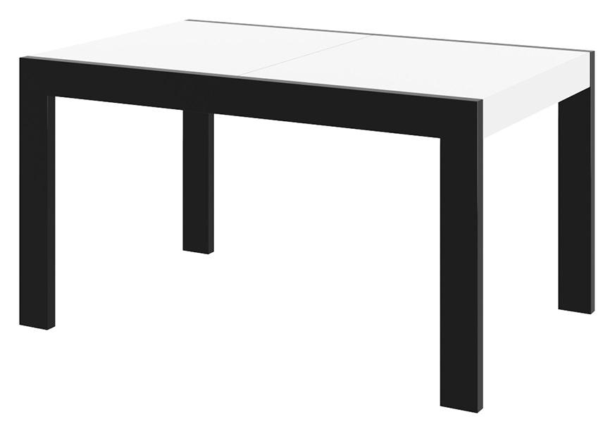 Uitschuifbare eettafel Imperia 160 tot 260 cm breed in hoogglans wit met zwart | Hubertus Meble