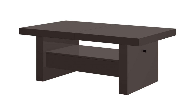 Uitschuifbare salontafel Aversa 120 tot 170 cm breed Hoogglans bruin   Hubertus Meble