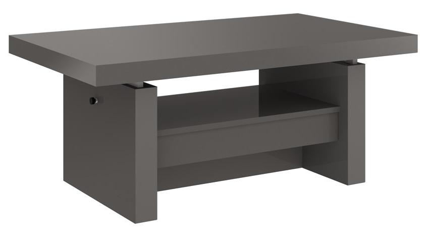 Uitschuifbare salontafel Aversa 120 tot 170 cm breed Hoogglans grijs | Hubertus Meble