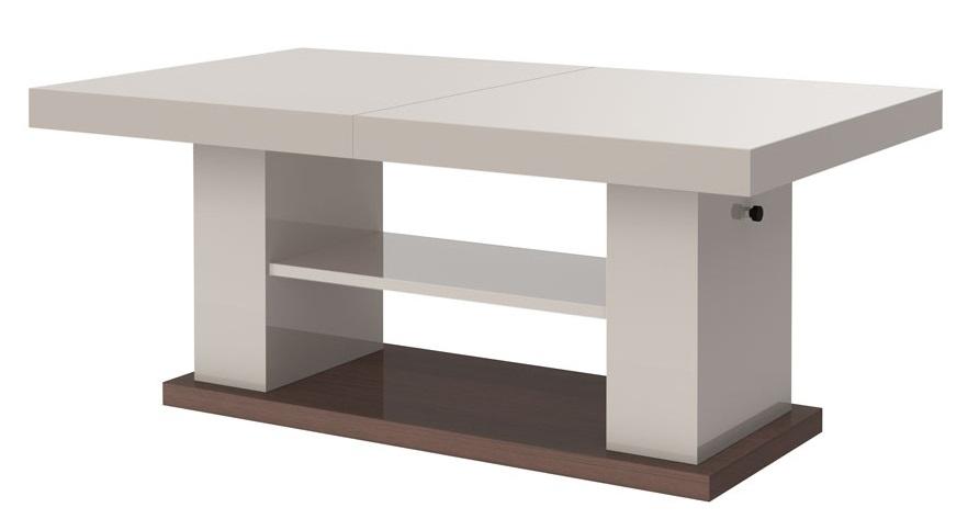 Uitschuifbare salontafel Matera 120 tot 170 cm breed in hoogglans cappuccino | Hubertus Meble