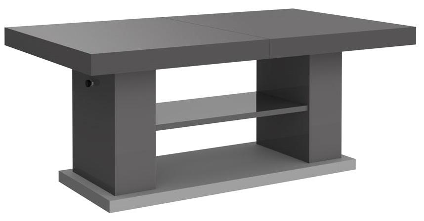 Uitschuifbare salontafel Matera 120 tot 170 cm breed in hoogglans grijs | Hubertus Meble