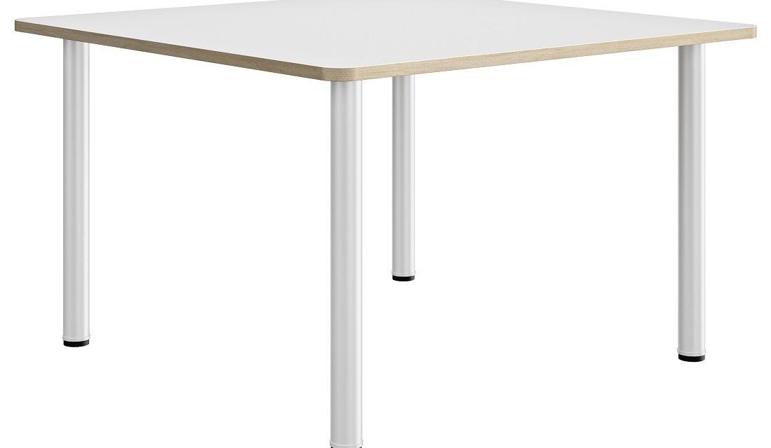 Vierkante bureau Artefact 120 cm breed in wit met eiken | Gamillo Furniture