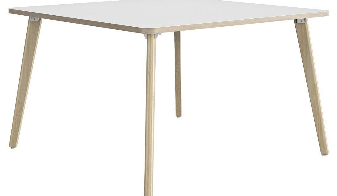 Vierkante bureau tafel Artefact 120 cm breed in wit met eiken | Gamillo Furniture