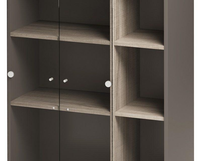 Vitrinekast Jazz van 114 cm hoog in grijs eiken met grijs | Gamillo Furniture