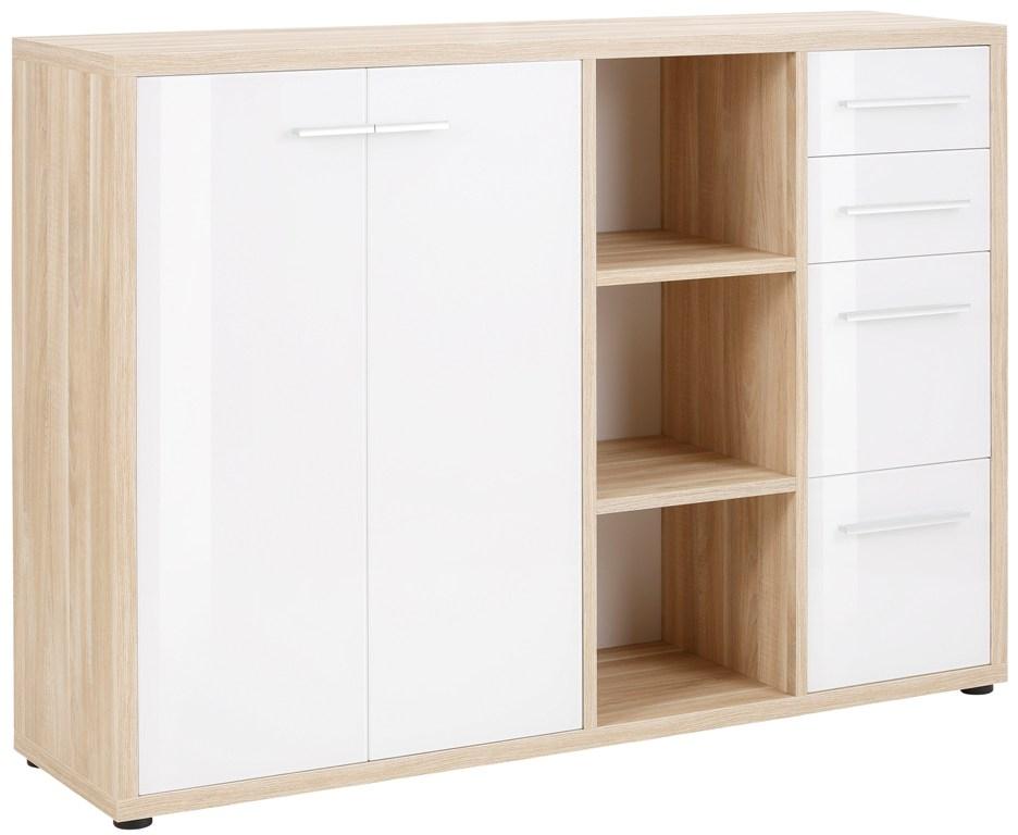 Boekenkast Banco 156 cm breed in eiken met wit | Bermeo