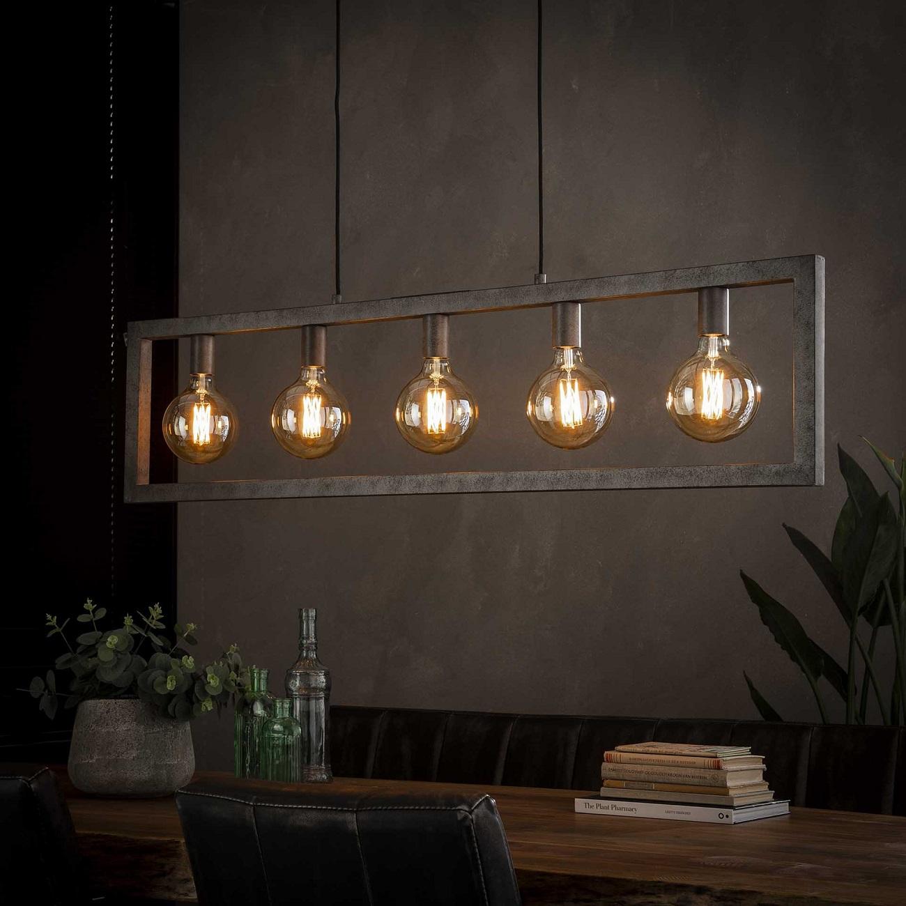 Hanglamp Steps 120 cm breed in oud zilver | Zaloni