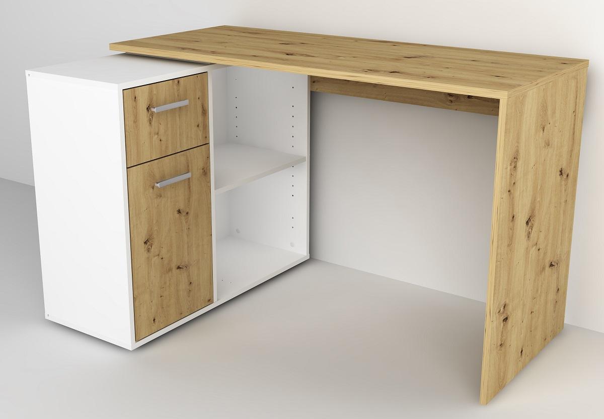 Computer hoekbureau Albert in artisan eiken met wit   FD Furniture