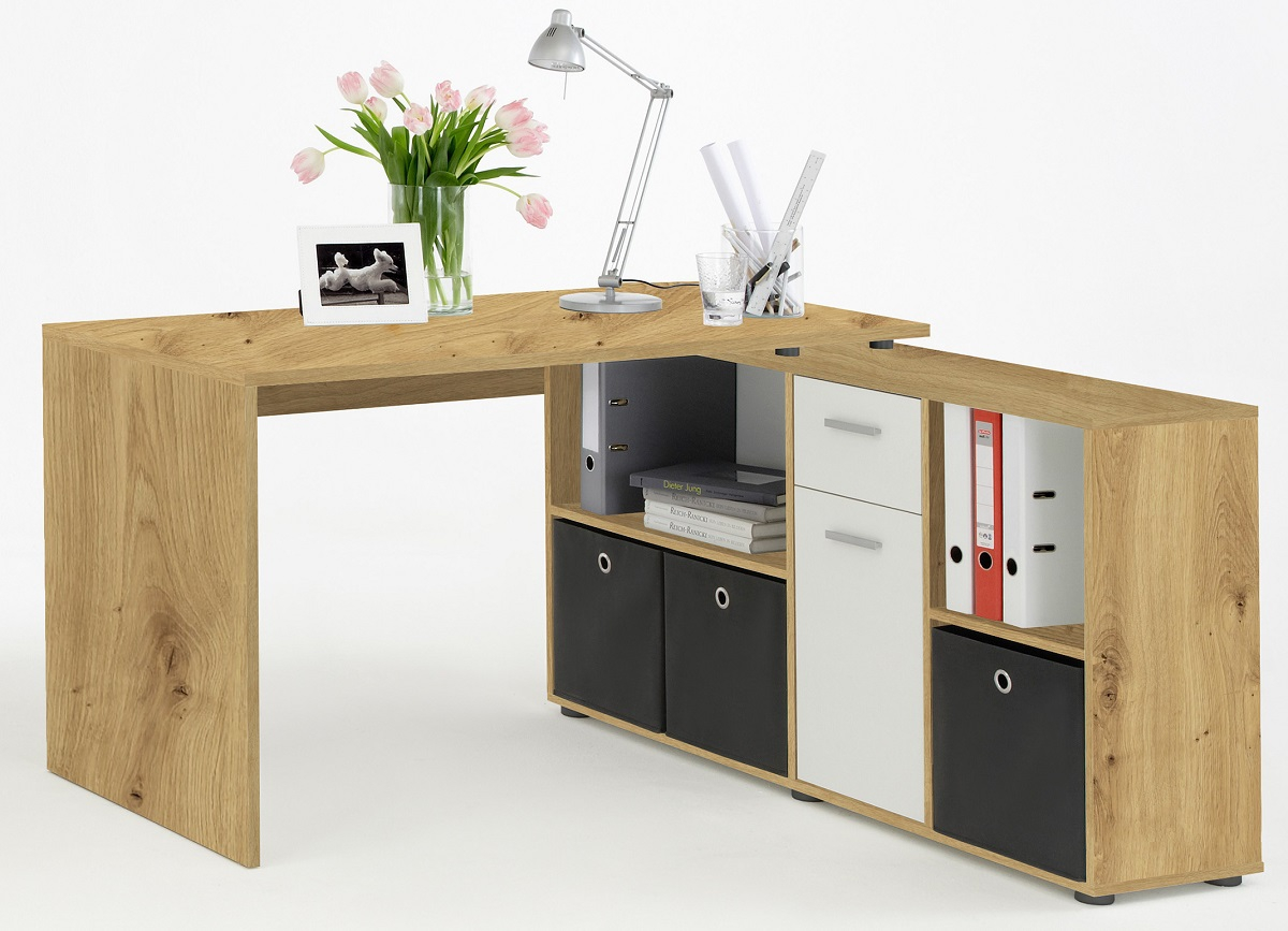 Computer hoekbureau Loki 136 cm breed In artisan eiken   FD Furniture
