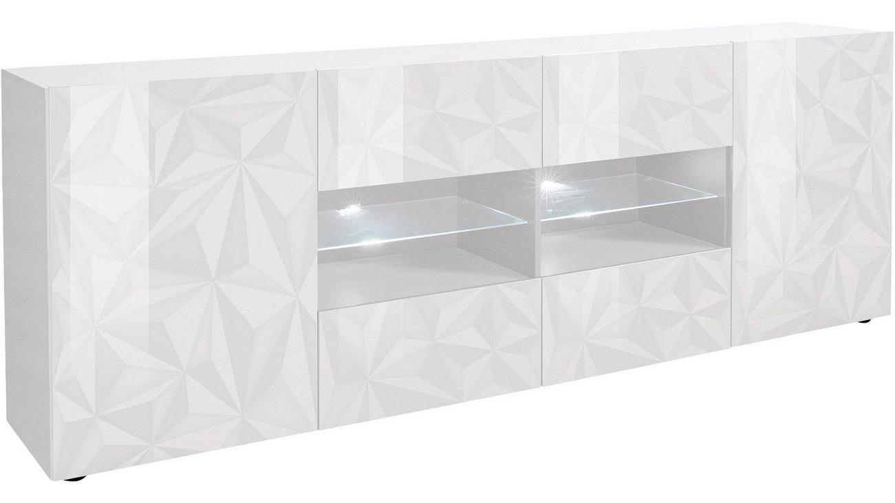 Dressoir Kristal 241 cm breed in hoogglans wit | Pesaro Mobilia