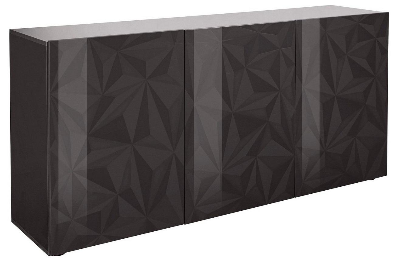 Dressoir Kristal met 3 deuren 181 cm breed in hoogglans antraciet | Pesaro Mobilia