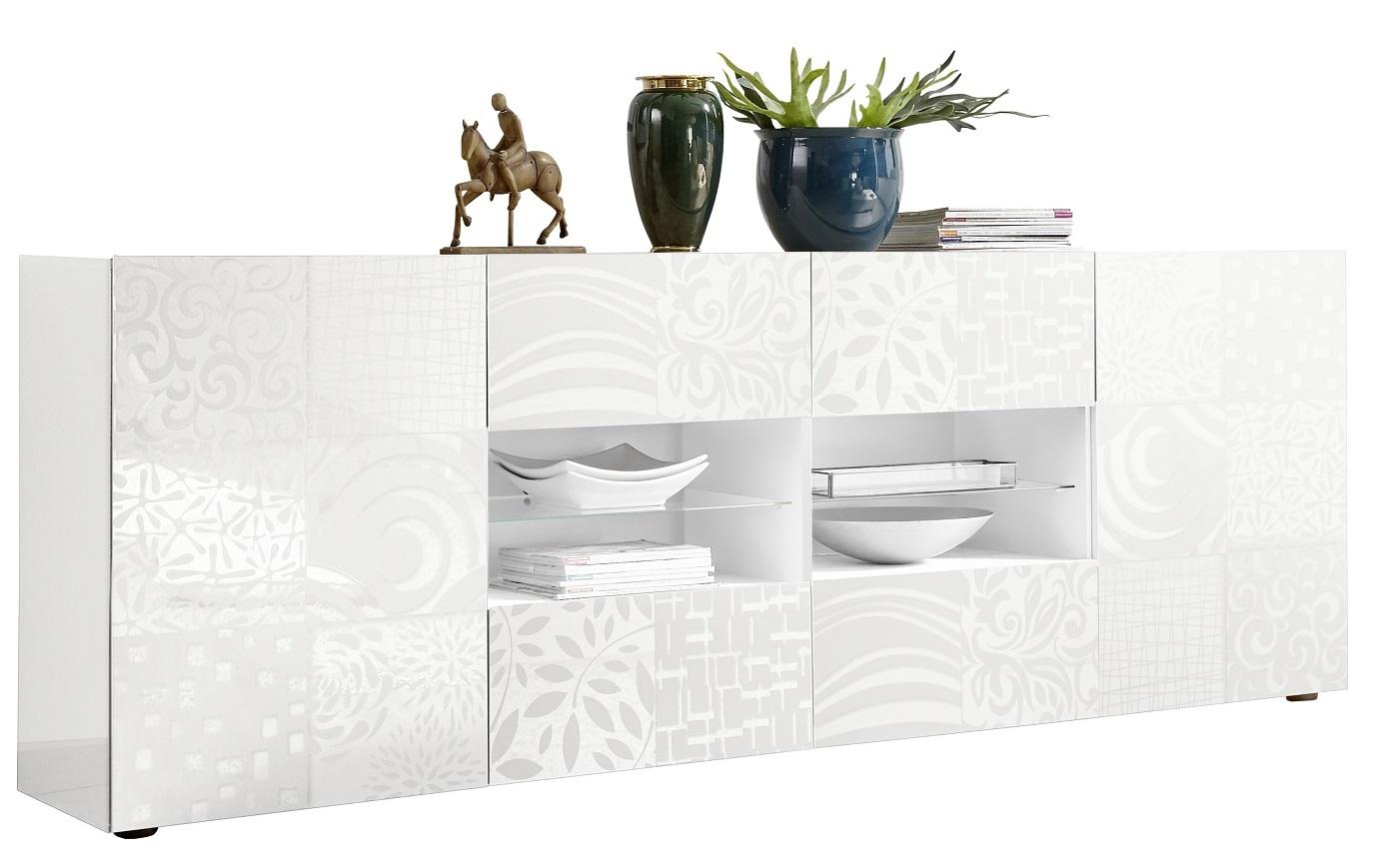 Dressoir Miro 241 cm breed in hoogglans wit | Pesaro Mobilia