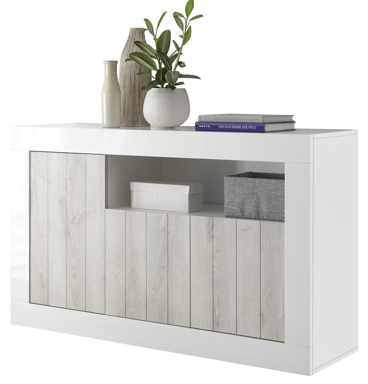 Dressoir Urbino 138 cm breed in hoogglans wit met grenen wit   Pesaro Mobilia