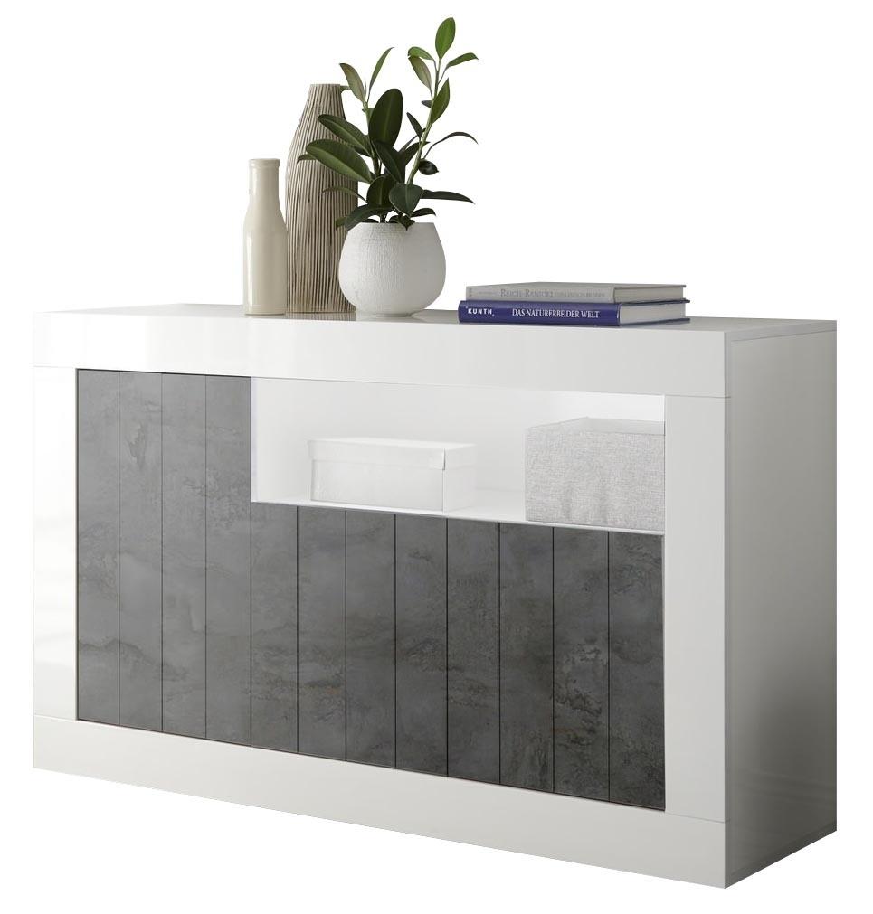 Dressoir Urbino 138 cm breed in hoogglans wit met oxid | Pesaro Mobilia