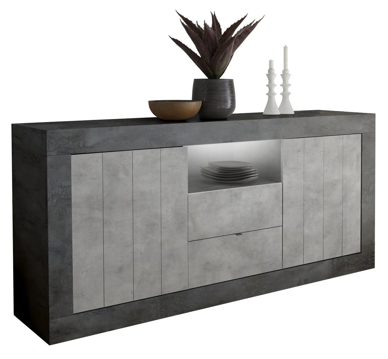 Dressoir Urbino 184 cm breed in oxid met grijs beton | Pesaro Mobilia
