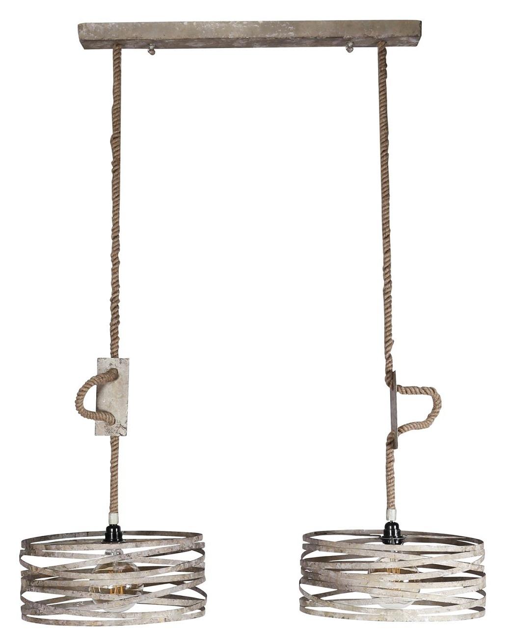 Hanglamp Martin 2xØ40 van 150 cm hoog in verweerd zink | Zaloni