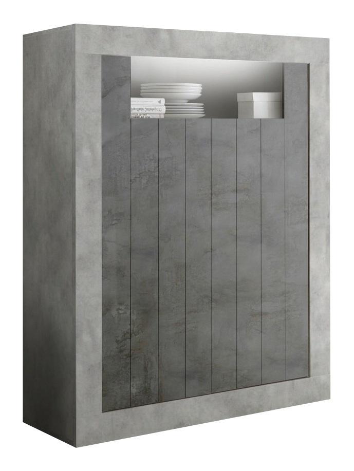 Opbergkast Urbino 144 cm hoog in grijs beton met oxid | Pesaro Mobilia