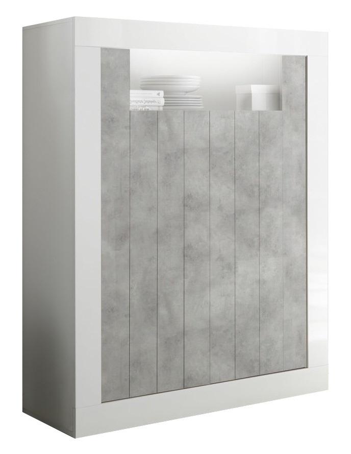Opbergkast Urbino 144 cm hoog in hoogglans wit met grijs beton | Pesaro Mobilia