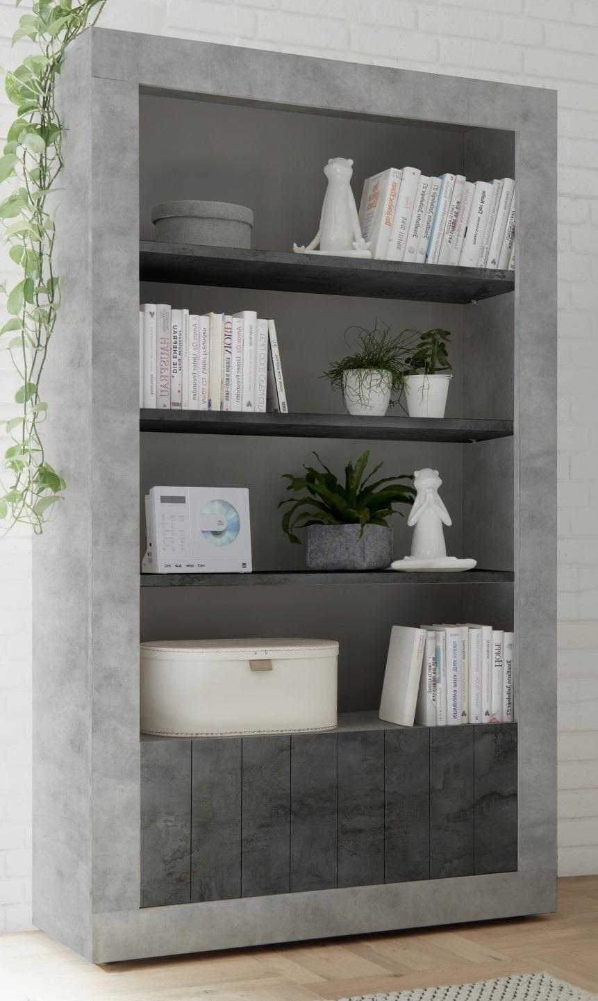 Open boekenkast Urbino 190 cm hoog in grijs beton met oxid | Pesaro Mobilia