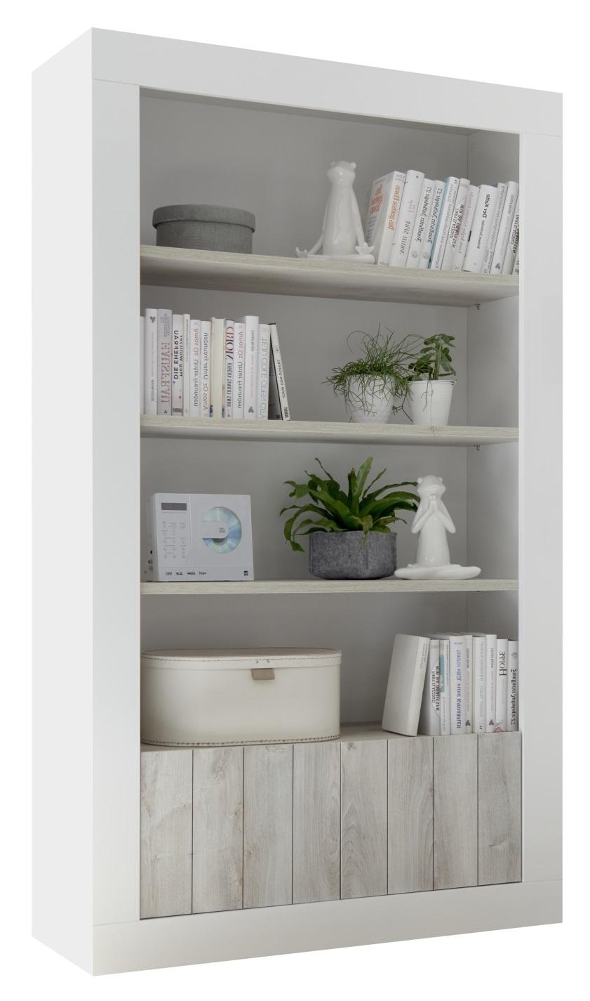 Open boekenkast Urbino 190 cm hoog in hoogglans wit met grenen wit | Pesaro Mobilia