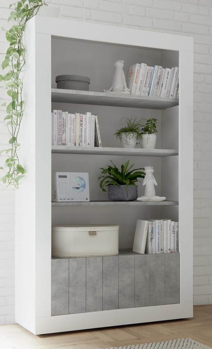 Open boekenkast Urbino 190 cm hoog in hoogglans wit met grijs beton | Pesaro Mobilia