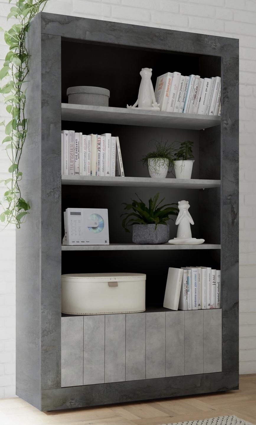 Open boekenkast Urbino 190 cm hoog in oxid met grijs beton | Pesaro Mobilia