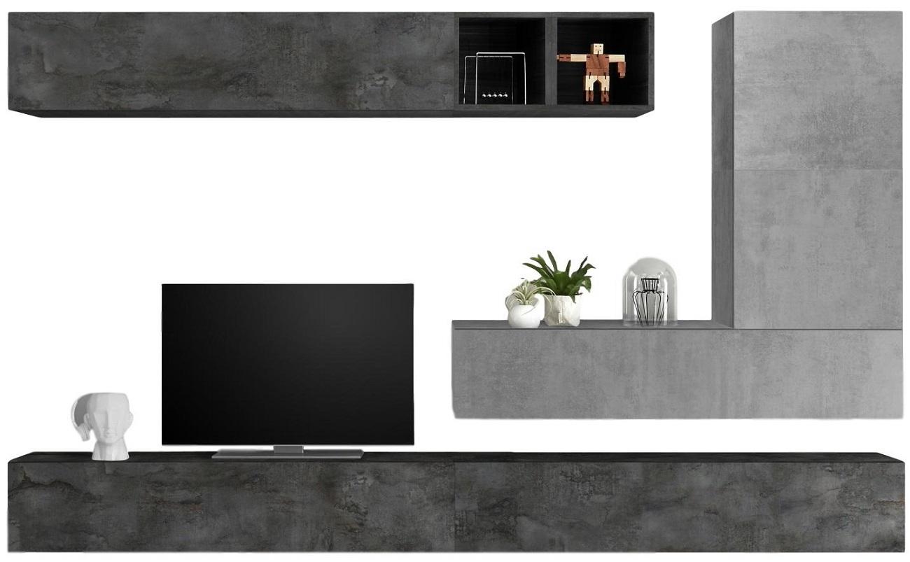 TV-wandmeubel set Adello in beton grijs met oxid | Pesaro Mobilia
