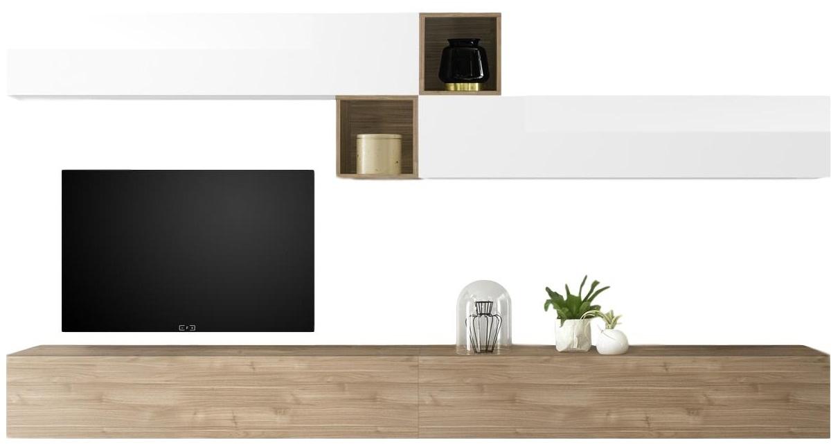 TV-wandmeubel set Anya in hoogglans wit met eiken   Pesaro Mobilia