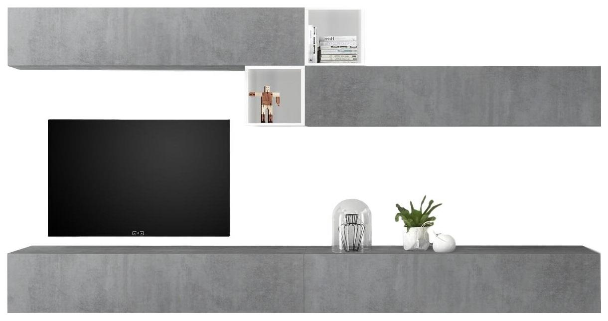 TV-wandmeubel set Anya in hoogglans wit met grijs beton | Pesaro Mobilia