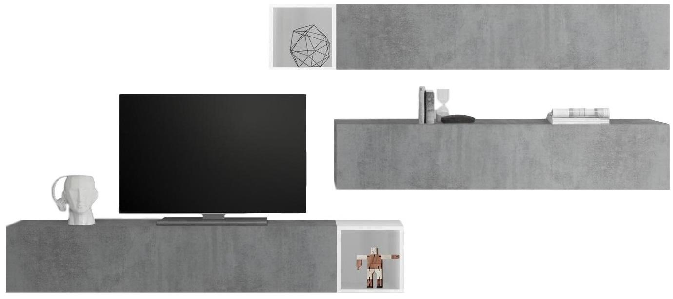 TV-wandmeubel set Balvin in hoogglans wit met grijs beton | Pesaro Mobilia
